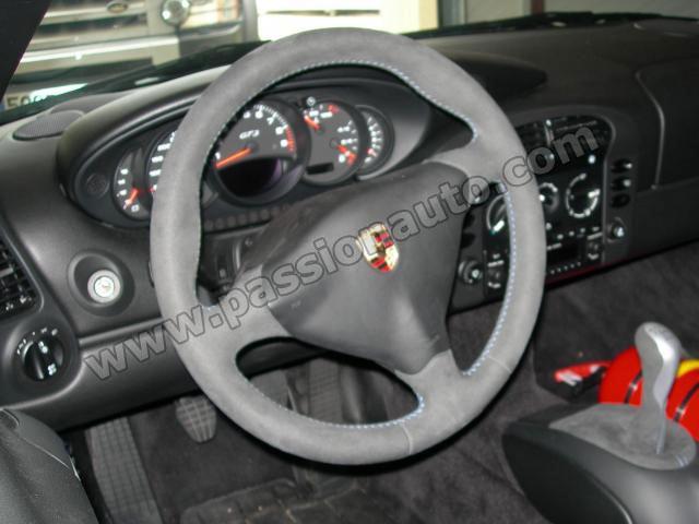 Volant alcantara bleu 3 branches sans airbag 996 for Porsche 996 interieur