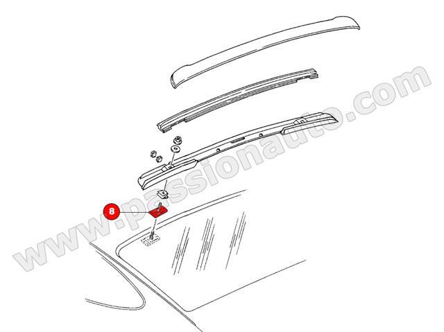 patte de fixation casquette  avec ou sans 3e feu stop  sur lunette   964-965-993