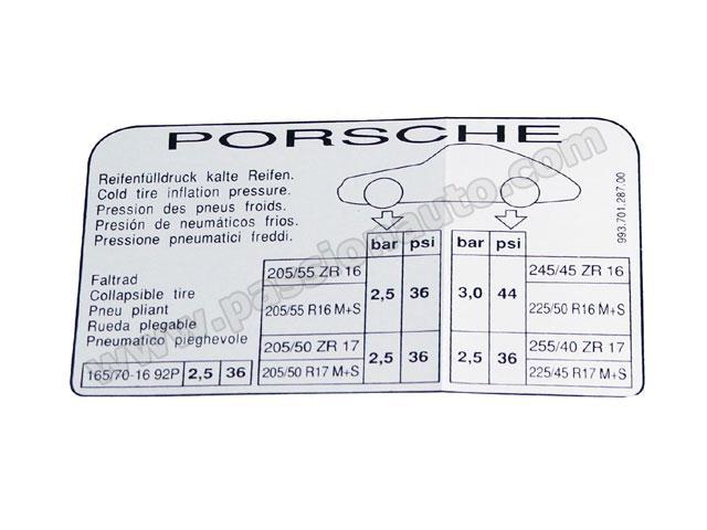 Etiquette De Pression Des Pneus 993 Coupe 94 95